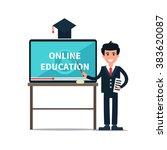 vector online education... | Shutterstock .eps vector #383620087
