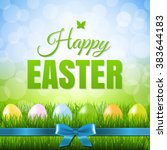 happy easter postcard with... | Shutterstock .eps vector #383644183
