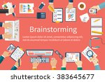 brainstorming  vector flat... | Shutterstock .eps vector #383645677