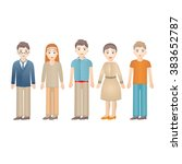 set of diverse people isolated...   Shutterstock .eps vector #383652787