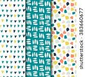 set of seamless vector patterns.... | Shutterstock .eps vector #383660677
