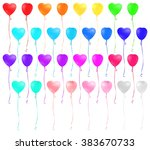 set of heart shaped colorful... | Shutterstock .eps vector #383670733