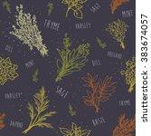 seamless herbs pattern  | Shutterstock .eps vector #383674057