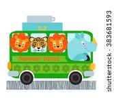 green bus design vector... | Shutterstock .eps vector #383681593
