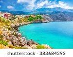 assos village on kefalonia... | Shutterstock . vector #383684293