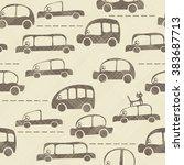 seamless cartoon map of cars... | Shutterstock .eps vector #383687713