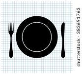fork knife and plate vector icon | Shutterstock .eps vector #383691763