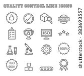 quality control line icons ... | Shutterstock .eps vector #383693557