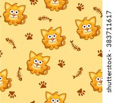 seamless pattern square cat and ... | Shutterstock .eps vector #383711617