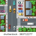 top view the city with streets  ...   Shutterstock .eps vector #383712277