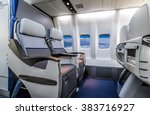 Small photo of Airplane cabin business class interior