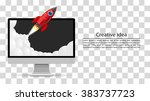 rocket takes off from the... | Shutterstock .eps vector #383737723
