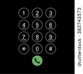 vector flat keypad for phone.... | Shutterstock .eps vector #383743573