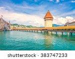 chapel bridge  lucerne ... | Shutterstock . vector #383747233