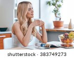 starting new day with fresh... | Shutterstock . vector #383749273
