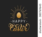 happy easter type greeting card ... | Shutterstock .eps vector #383769643