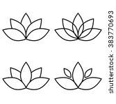 Lotus Flower Black Set Element...