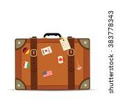 Travel Suitcase On White...