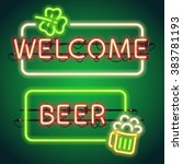 st patrick's day glowing neon... | Shutterstock .eps vector #383781193
