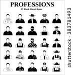 professions 25 icons set for... | Shutterstock .eps vector #383781493