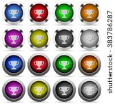 set of trophy cup glossy web...
