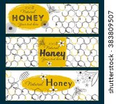 set of honey banners with hand... | Shutterstock .eps vector #383809507
