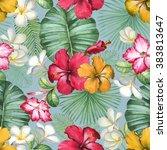 watercolor seamless tropical...   Shutterstock . vector #383813647