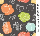 seamless mix of fruits pattern | Shutterstock .eps vector #383826553