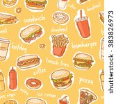 seamless colorful fast food... | Shutterstock .eps vector #383826973