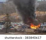 heavy fire accident at big car...   Shutterstock . vector #383840617
