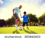 father son playing soccer park... | Shutterstock . vector #383860603
