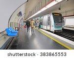 metro train in paris  france. | Shutterstock . vector #383865553