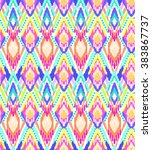 colorful ikat stripes print  ... | Shutterstock .eps vector #383867737