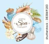 spa treatment round banner with ... | Shutterstock .eps vector #383869183