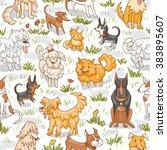 cute dogs pattern. seamless... | Shutterstock .eps vector #383895607