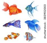 Watercolor Tropical Fish Set ...