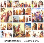 collage diverse faces summer... | Shutterstock . vector #383911147