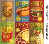 set of retro fast food menu...   Shutterstock .eps vector #383922487