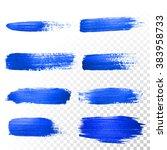deep blue watercolor brush... | Shutterstock .eps vector #383958733
