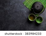 Green Japanese Tea On Stone...