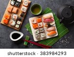 set of sushi and maki roll and... | Shutterstock . vector #383984293