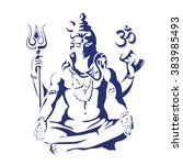 lord shiva in the lotus... | Shutterstock .eps vector #383985493