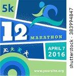 running marathon  people run ... | Shutterstock .eps vector #383994847