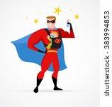 super hero daddy in superhero... | Shutterstock .eps vector #383994853