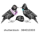 dressed up hand drawn starling... | Shutterstock .eps vector #384010303
