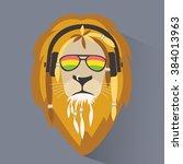 lion reggae. lion rastafarian.... | Shutterstock .eps vector #384013963