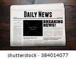 daily newspaper with wooden... | Shutterstock . vector #384014077