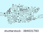 flat style  thin line art... | Shutterstock .eps vector #384031783