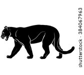 silhouette of black panther | Shutterstock . vector #384067963