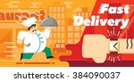food delivery concept design.... | Shutterstock .eps vector #384090037